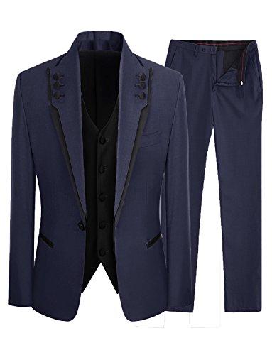 Lilis® Herrenmode Grau 3 Stück Männer Anzüge Hochzeit Anzüge One Button Bräutigam Smoking -