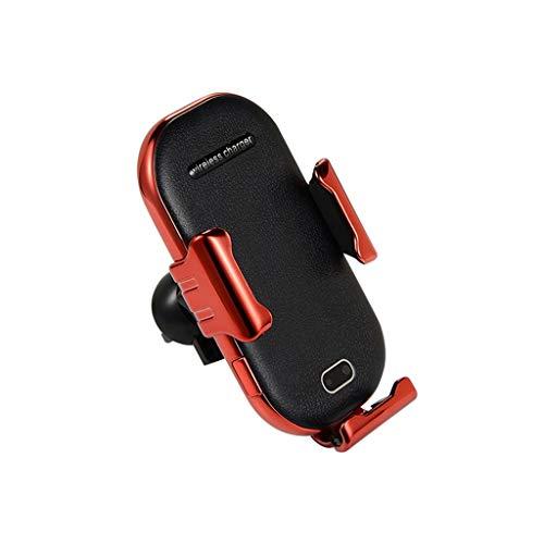 12shage Automatisch Wireless Charger Auto Handyhalterung Elektronisch Motor Betrieb 10W Fast Charging Extra Stabil Lüftung (Rot)