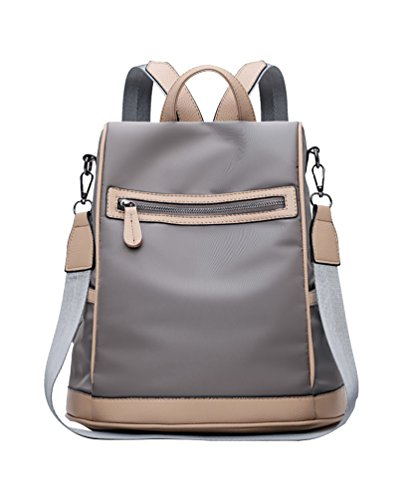 YAANCUN Oxford Nylon Women Backpack Waterproof Travelling Backpack Multi Compartment Bag Single Shoulder Two Shoulders Dual Use Grey