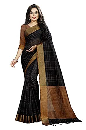 Indian Fashionista Women's Dupion Silk Saree With Unstitched Blouse Piece
