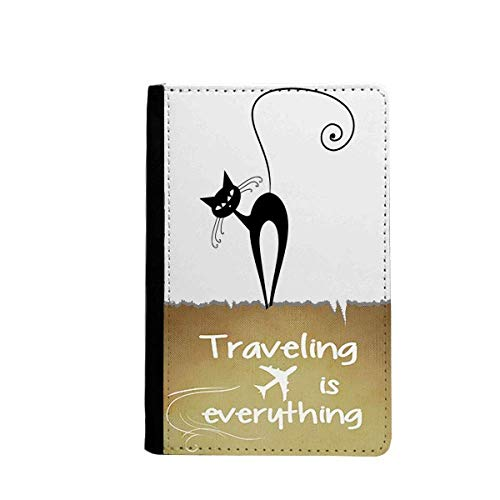 Tilt Head Black Cat Halloween Animal Silhouette Traveling quato Passport Holder Travel Wallet Cover Case Card Purse