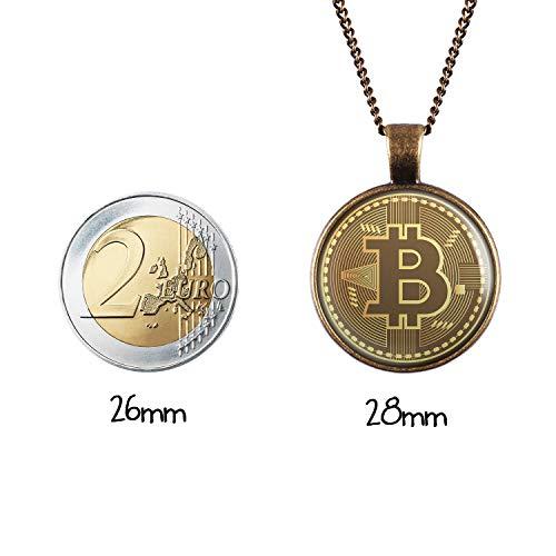 Mylery Hals-Kette mit Motiv Bit-Coin Krypto-währung Münze bronze 28mm - 3