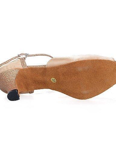 ShangYi Chaussures de danse(Bleu / Rouge / Ivoire) -Personnalisables-Talon Bobine-Satin / Paillette Brillante-Ventre / Latine / Jazz / Baskets de Blue