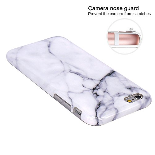 iPhone 6 Hülle, iPhone 6S Hülle, JIAXIUFEN Shiny Rose Gold Gray Marmor Design Soft TPU Silikon Schutz Handy Hülle Handytasche HandyHülle Case Cover Tasche Schutzhülle für iPhone 6 Weiß