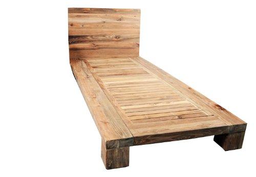 Divero Holzbett Einzelbett Doppelbett Futonbett – Bett-Gestell Lattenrost & Kopfteil aus Teak-Holz massiv rustikal – 200 x 90 x 19 cm (Kopfteil Rustikales Bett)