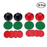 Yeelan Air Hockey Pushers & Pucks set, Grande Taille, (2 poussoirs Navy + 2 poussoirs rouge + 4 lints + 8 Red Pucks)