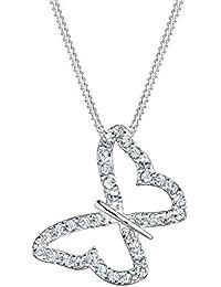 Elli - Pendentif avec Chaîne - Femme en forme de papillon en argent 925 et cristal de verre blanc brillant - 0109250914_45