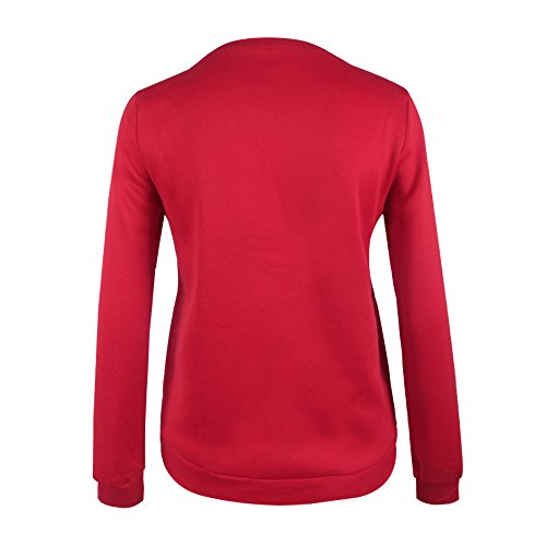 Bigood Pull-over Femme Pull Imprimé Sweater Manche Longue Sweat-shirt Col Rond Mignon Rouge