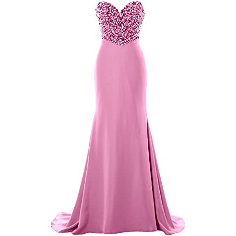 MACloth Women Strapless Long Prom Dress Crystals Formal Party Evening Gown