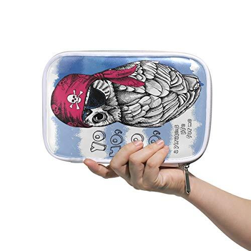 Lustige Federmäppchen mit Piraten-Motiv und Vogel-Eule, multifunktionaler Reißverschluss, Reisetasche, Make-up-Pinsel, Kosmetiktasche für Kinder, Studium, Frau, Mann, Arbeit