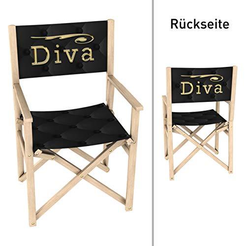 Vispronet Regiestuhl Diva, Schwarz Gold Outdoor Klappstuhl ✓ Buchenholz ✓ Rückenlehne & Sitzfläche mit Druck ✓ bis 110 kg - Schwarze Outdoor-klappstühle