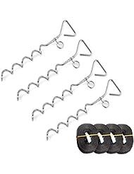 4 Stück Erdanker +4 Fixiergurte Spiralhering (4 Heringe+ 4 Gurte 3 meter)