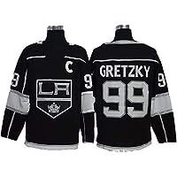 XIAOYU Anze Kopitar # 11 / Jeff Carter # 77 / Wayne Gretzky Manga de Hockey # 99 Los Angeles Kings Hielo NHL Jerseys con Capucha de los Hombres Respirables de la Camiseta Larga,99,M