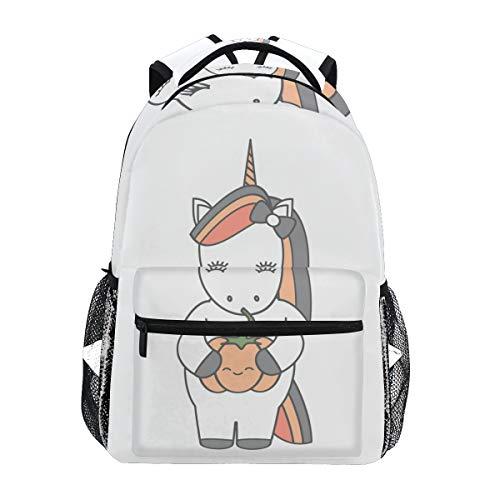 Süßes Einhorn Kürbis Schulrucksack für Jungen Mädchen Kinder Reisetasche Bookbag