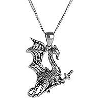 Urban Male Men's Stainless Steel Flying Dragon Pendant & Chain