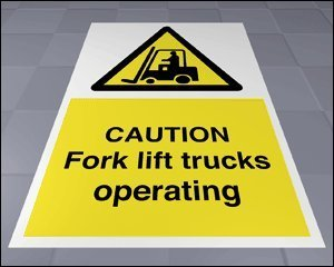 Floor Safety Sign - Caution Fork Lift Trucks Operating (Self