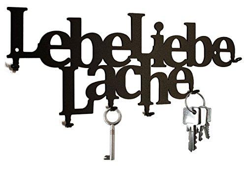 Schlüsselbrett / Schlüsselleiste - Lebe Liebe Lache - Hakenleiste, Schlüsselboard, 6 Haken, schwarz, Metall