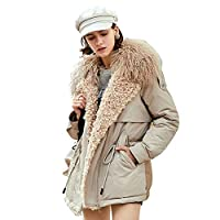 Women's Lightweight Parka jas, met capuchon Cool Coat Fashion Faux Fur Jacket Warmte van de winter Slim Slant Hooded Short Hooded Casual Travel Jacket,White,XXL