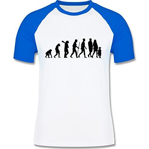 Evolution - Familie Evolution - zweifarbiges Baseballshirt für Männer Weiß/Royalblau