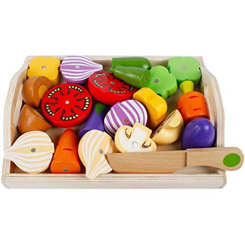 ZUJI Holz Obst und Gemüse zum Schneiden Lebensmittel Einkaufskorb Kinder Spielzeug Küchenspielzeug Lernenspielzeug für Kinder Rollenspiele (Gemüse)