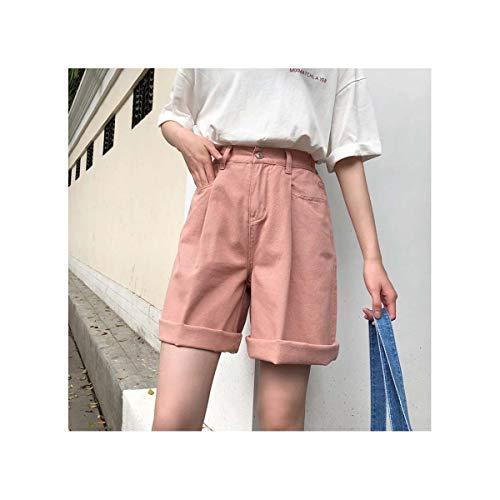 Shorts Women Solid Color High Wide Leg Trendy Harajuku Clothes Womens Summer Elastic Girl Simple All-Match Short Student Elegant pink L -