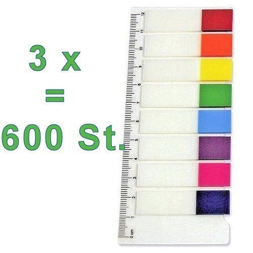 3x Film-Pagemarker Haftmarker = 600 Blatt (24 x 25 Blatt) zum Beschriften / Markieren