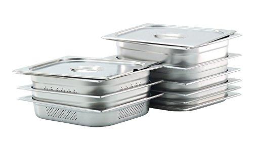 GVK ECO GN Behälter Gastronorm Behälter 2/3 20mm – 200mm Tiefe aus Edelstahl – ungelocht oder gelocht – Deckel oder Behälter