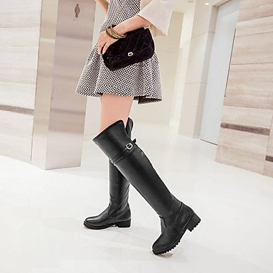 Absatz outddor Damen modische Lfnlyx Mandelfarben schwarz niedriger Büro Lässig stiefel Braun kunstleder Black Stiefel F0dEqwd
