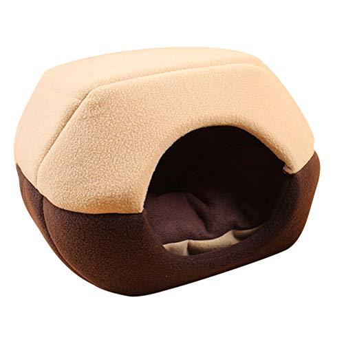 Delidraw Winter Cat Dog Bed House Faltbar Weich Warm Tier Hund Höhle Schlafen Pad Nest Hund Versorgung für Haustiere Medium Kaffee -