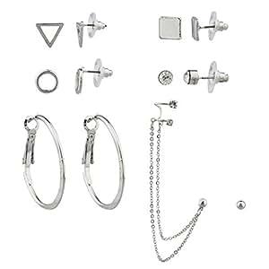 Lux accessori Geo Disco Cerchio Triangolo Quadrato Cristallo Orecchini Ear Cuff più set.