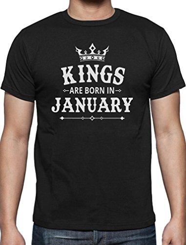 Geschenk T-Shirt für den Mann - Kings are born in Januar T-Shirt Schwarz