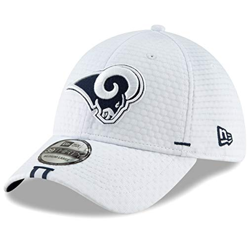 New Era - NFL Los Angeles Rams On Field 2019 Training 39Thirty Cap - Weiß Größe M-L (Bekleidung Rams)