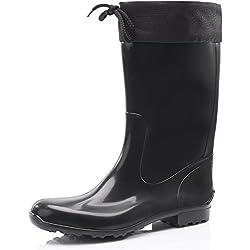 Ladeheid Botas Antideslizantes en PVC Mujer LA-968 (Negro/Negro, 36 EU)