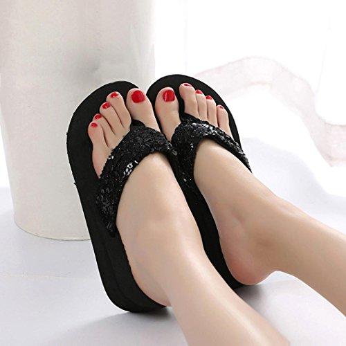 Rawdah Tongs DÉté Anti-Dérapantes avec Paillettes Femme Flip Flops Été Chaussures Antidérapant Sequins Sandales Pantoufle Chaussons Platform Pantoufles de Bain Accueil Noir