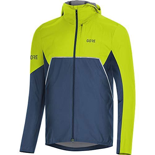 Gore Wear Herren R7 Partial INFINIUM Kapuzenjacke, Deep Water Blue/Citrus Green, L