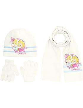 Disney Princess - Cappello + guanti + sciarpa da bambina,