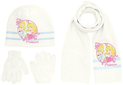 Disney Princess - Cappello + guanti + sciarpa da bambina,off-white (platre), X-Small