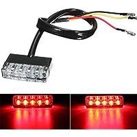 Luz trasera de freno de motocicleta, 12 V, universal, super ligera, mini 5 LED, luz roja de freno para scooter
