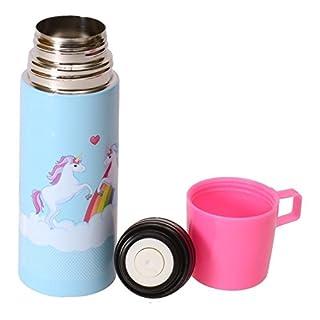 Einhorn Trinkflasche mit Becher - Unicorn Thermoflasche Wasserflasche Magie