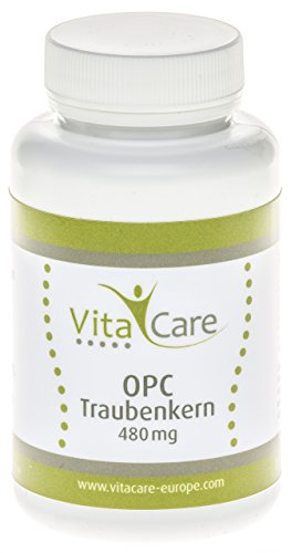 VitaCare OPC Traubenkernextrakt - 60 Kapseln, 450 mg reines OPC Pulver pro Kapsel, natürliche Traubenkern-Kapseln mit Vitamin B12 - Made in Germany, hochwertige Antioxidantien (Mg Kapseln 100 650)