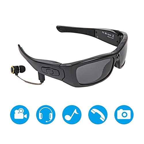 JAYLONG Sport wasserdichte Video-Sonnenbrille, 1080P Full HD Video Recording Camera Support 32GB Memory TF Card und polarisierte Schutzschutz-Sicherheits-Linsen, MP3 mit Kopfhörern