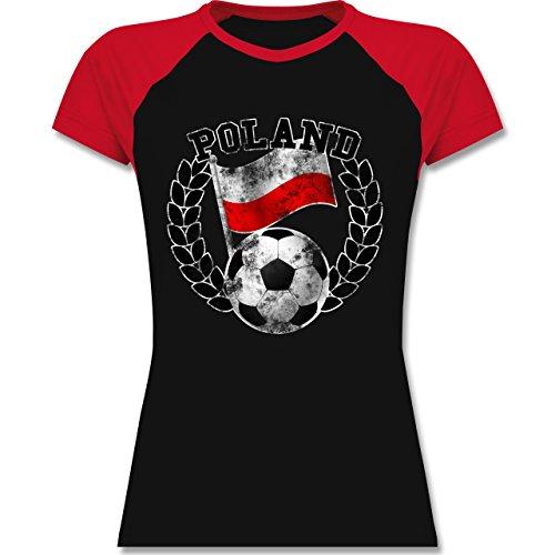 EM 2016 - Frankreich - Poland Flagge & Fußball Vintage - zweifarbiges Baseballshirt / Raglan T-Shirt für Damen Schwarz/Rot