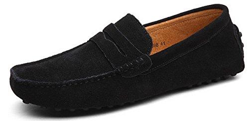 Joomra mocassins scarpe da uomo casual cuoio eleganti estivi nappine pelle senza lacci barca pantofola nero 42
