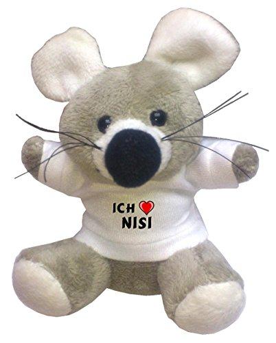 Preisvergleich Produktbild Plüsch Maus Schlüsselhalter mit einem T-shirt mit Aufschrift mit Ich liebe Nisi (Vorname/Zuname/Spitzname)