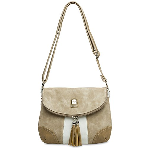 CASPAR Fashion, Borsa a tracolla donna #15105 weiß beige Umhängetasche