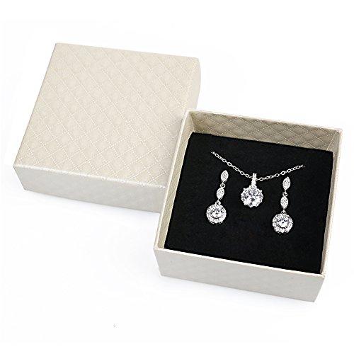 iMing Fashion Earrings Necklace Cubic Zirconia Round-Cut Halo Stud Dangle Earrings Necklace Jewelry Set W6dg1oWyZO