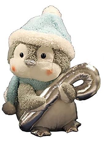 Zauberhaft süsser Pinguin mit Zuckerstange - niedliche Plüsch - Figur mit Musik und Bewegung - Größe 20 cm x 16 cm - animierte und richtig lustige Dekoration für Winter Advent und Weihnachten