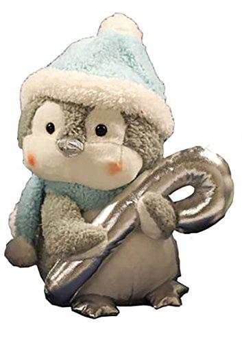 Magico a forma di pinguino con Candy Cane-Peluche Figura con musica e movimento-20cm x 16cm-animata e divertente decorazione per inverno avvento e Natale