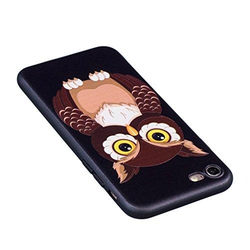 Trumpshop Smartphone Case Coque Housse Etui de Protection pour Apple iPhone 7 Plus 5.5 Pouces + Fleur de lys + Ciselure Ultra Mince Silicone TPU Gel avec Absorption de Choc Hibou Mignonne