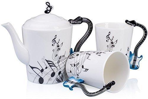 """VENKON - Musikalisches 3-teiliges Keramik Teeservice """"Tea-For-Two"""" im E-Gitarren Design mit Noten Verzierung: eine Teekanne mit Deckel und zwei Tassen in eleganter Geschenkbox"""